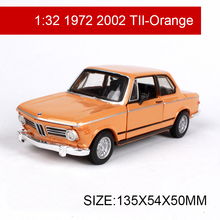 1:32 Diecast Model Car 1972 2002 TII Classic Cars Coupe Vehicle Play Collectible Models Sport Cars toys For Gift Collection