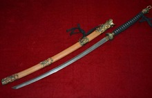 Collectable WWII Japanese Samurai Katana/ DAO/sword,Dragon  &Phoenix,Yellow sharkskin scabbard