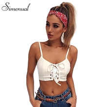 Simenual Lace up crop top women camis vest 2017 summer slim sexy hot white camisole strappy cropped tank tops women's bralette(China)