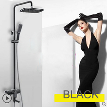 Black /White  Shower Mixer Bathroom Shower System Full Set With Overhead Shower Handshower Bathroom Shower Mixer Hot Cold Water