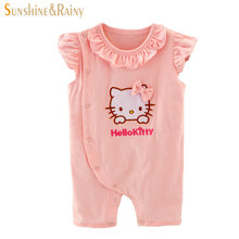 2017 New Summer Baby Girl Lace Rompers Infant Girls Clothes Hello Kitty Cat One Pieces Jumpsuit Newborn Bebes Cotton Clothing