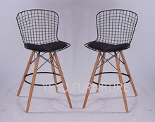 Minimalist Modern Design Steel wire seat Wooden Leg Padded Counter stool Wire Bar Chair Modern Simple Design bar stool 2 PCS