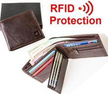 MRF1 NEW  new stylish RFID BLOCKING Men wallet+ genuine cow Leather + Bifold Purse with coin pocket+ RFID protection