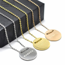 "FYSARA High Polished Stainless Steel Dog Tag Necklace For Women Jewelry Round ""WONDER"" Word Letter Short Necklace Statement Gfit"