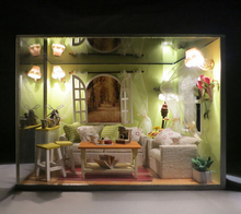 k002 Miniature DIY wooden doll house parlor drawing room ( furniture,Light,dust cover ) miniatura parlour dollhouse