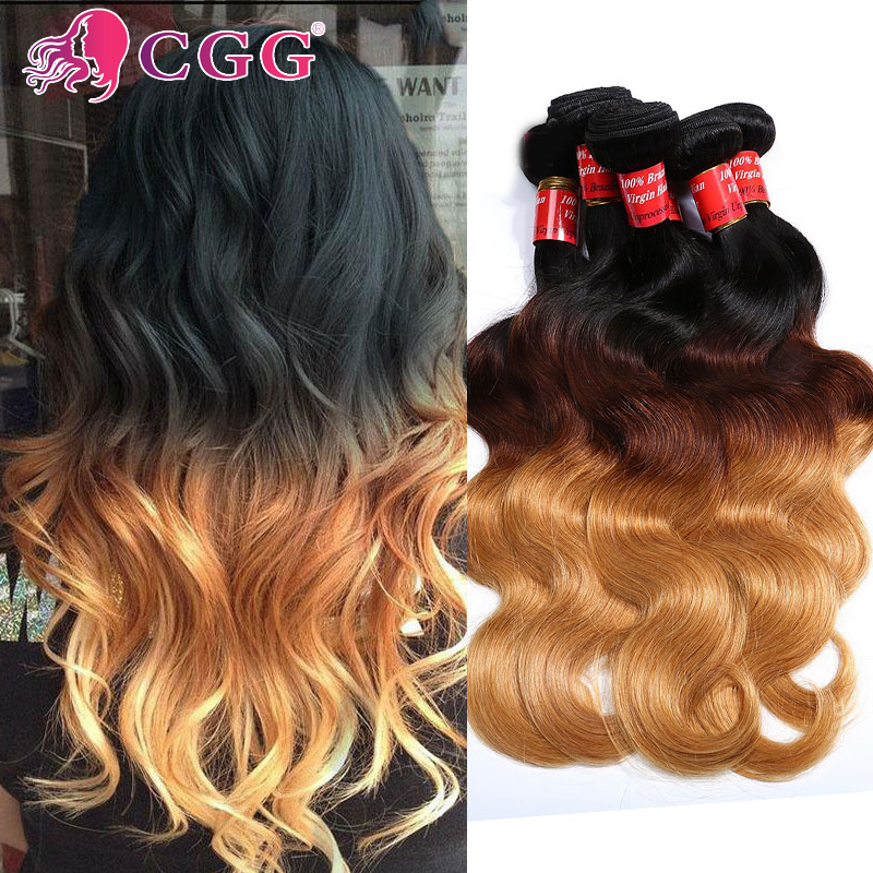 Ombre Hair Extensions Cheap Ombre Brazilian Virgin Hair T1B/4/27 Ombre Brazilian Body Wave Ombre Brazilian Human Hair Bundles<br><br>Aliexpress