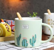 New Fashion Cactus design Ceramic Water Cup with Spoon High Quality Drinking Coffee Cup Student Milk Cup Mix Color