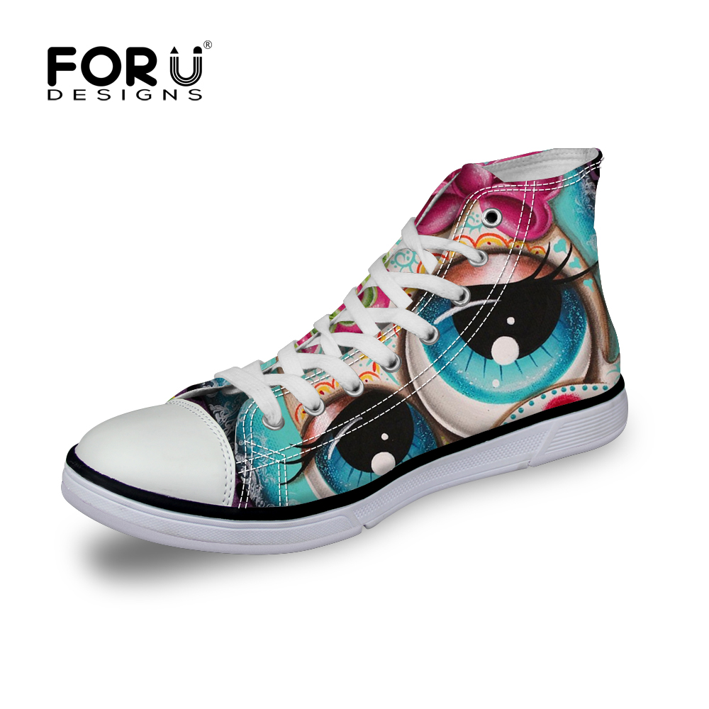 Cool Printing Skull Shoes for Women High Top Cartoon Canvas Shoes,Casual Lace-Up Women Female Shoes Flat Girls Canvas Shoes<br>