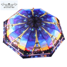 Fashion Women Landscape Oil Painted Automatic Brand Parasols Umbrellas 3 Folding Anti-UV Sun/Rain Parasol Colorful Umbrella