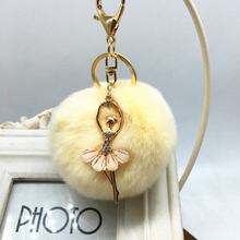 New rabbit fur ball keychain Bag Pendant Fur Ball Plush Ballet Girl Key chain  Metal Key Holder  Rabbit