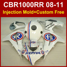 Custom bodykit for HONDA CBR1000 RR fairing kit 2008 2009 2010 2011 REPSOL white fairings CBR 1000RR 08 09 11(China)