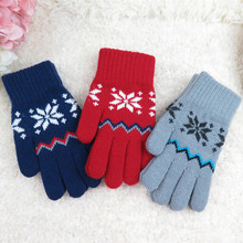 IMIXLOT Children Wool Knitted Fleece Gloves Snowflake Pattern Kid Gloves Winter Thick Warm Accessories Christmas Gift