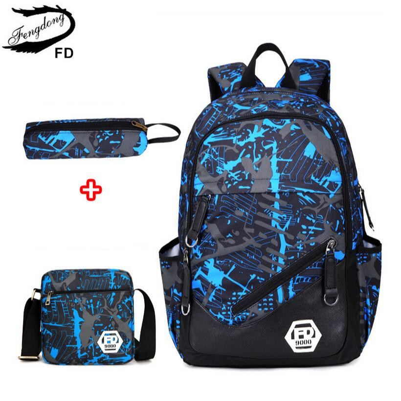 FengDong Boys School bag with Pencil case Waterproof Oxford Fabric Backpack for Teenagers Book Bag Boys One Shoulder Schoolbag(China (Mainland))