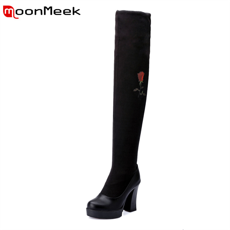 Ethnic style over the knee boots for women fashion The embroidery spring autumn boots with high quality nubuck leather<br><br>Aliexpress