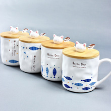 4 Style Fish And Cat Design Ceramic Mug With Bamboo Cover High Quality Drinking Coffee Cup with Ceramic Spoon Milk Cup