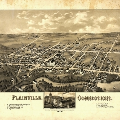 Historic Map of Plainville Connecticut 1878 Hartford County Poster Print (36 x 54)