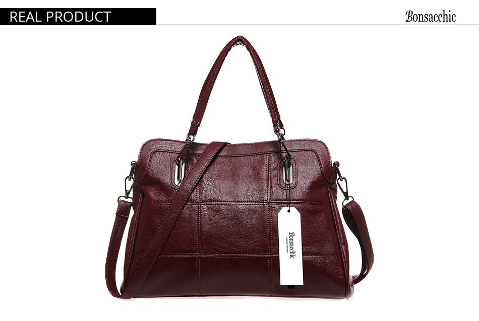 Bonsacchic Fashion Ladies Hand Bag Women's Genuine Leather Handbag Black Leather Tote Bag Bolsas femininas Female Shoulder Bag 8