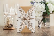 Sample Hollow Laser Cut Wedding Invitations Card Personalized Custom Printable with Ribbon & Envelope & Seals(China)