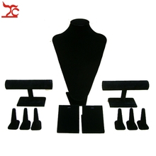 window display mixed display kit with ring finger  black velvet 35CM high neckform Counter Showcase  set