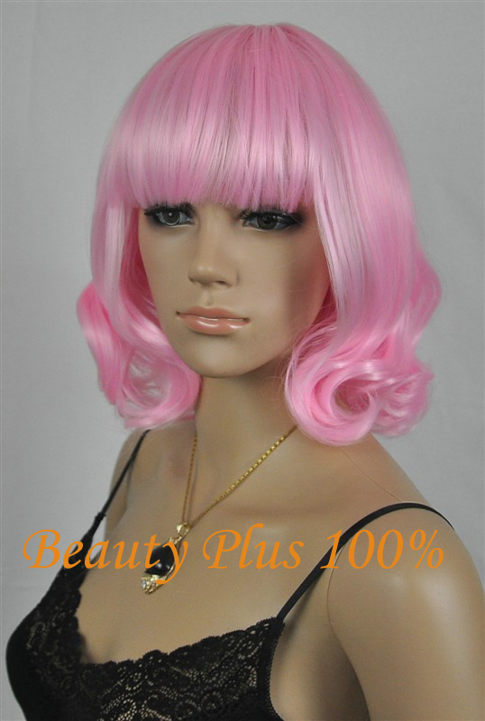 New Hot 32cm Short Curly Sexy Ladies Pink Red Bob Synthetic Hair Wig Peruca,Top Quality Korean Rose Hairnet Kanekalon Fiber<br><br>Aliexpress