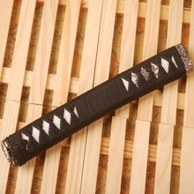 Straight Katana Tsuka Black Silk Ito & Imitated White Rayskin & Alloy Fuchi Kashira Fitting for Japanese Sword Katana Handle H10