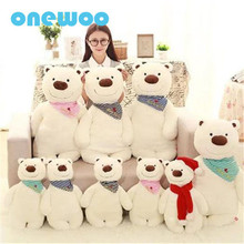 Scarf Soft White Bear Plush Pillow Toy Creative Children Sleep Stuffed Cartoon Animal Polar Bear Doll Pillow Kids Birthday Gift(China)
