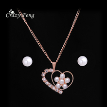 Flower Pattern Covered with Simulated Pearl Necklace Earring Set Rhinestone Heart Shape Chain Choker Women Jewelry set Bijoux