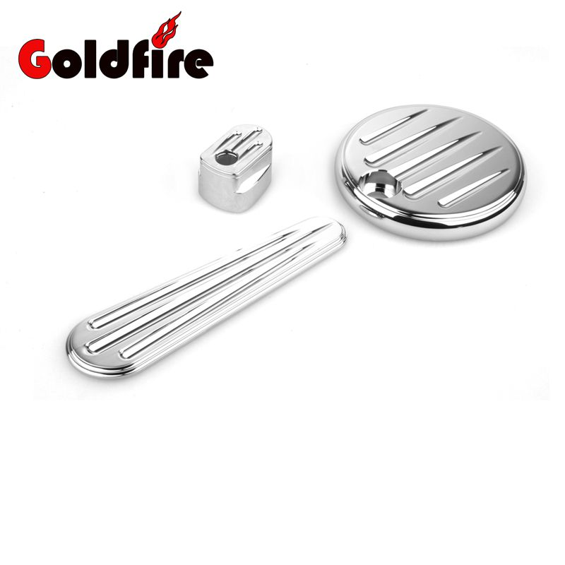 Chrome Deep Cut Motorcycle Fuel Tank Door Dash Track Insert Ignition Cover For Harley Touring FLHX FLTRX 2014 2015 2016 2017<br>