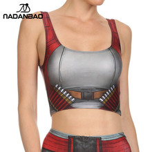 NADANBAO NEW ARRIVAL Crop Top COMIC Pattern Women Camis BLADE AND Ammo Print tank tops Colorful sleeveless Tee Vest(China)