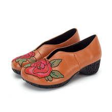 2017 Original Embroidered Cowhide Retro Women Shoes Fashion with Thick High Heels 45mm Genuine Leather Shoes Woman Wedding Shoes