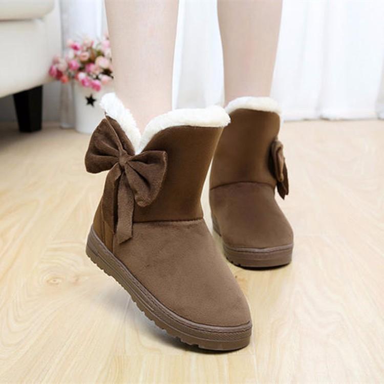Women Snow Boots 2016 Warm Solid Plus Velvet  Flat Women Boots Winter Bowtie Casual Shoes Round Toe Wild Ladies Shoes SNF905 (6)