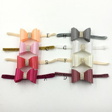 8 pcs/lot,  Double Stacked Satin Covered Hair Bow Loop Stretched Rhinestone Glitter Headband