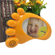 "5"" Cute Baby Foot Shape Photo Frame Plastic Home Decor Wedding Favor Picture Frame Return Gifts"
