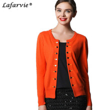 Lafarvie Cashmere Blended Knitted Sweaters Women Tops Female Cardigans Fashion Outwear Double Breasted Sale With 7 Colors Jumper(China)