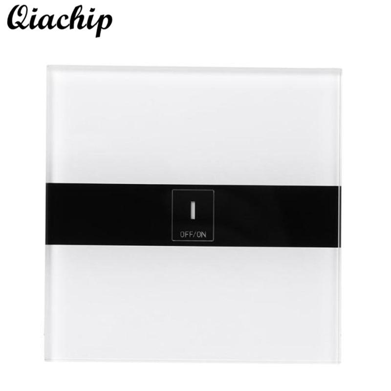 QIACHIP EU Plug 1 Gang AC 90-250V Tempered Glass WIFI Remote Control Touch Sensor Panel Switch Work With Amazon Alexa Smart Home<br>