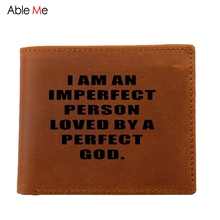 Real Leather purses men Laser Engraved custom name God love by PERFECT GOD and christian Jesus short Wallet with coin pocket(China)