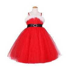 New Red Xmas Dress Kids Girls Christmas Santa Claus Braces Tulle Tutu Dress Costume Wedding Party Pageant Formal Princess 2-8Y