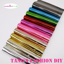 10PCS--20X22CM DIY THICKER METAL COLOR PU glossy leather set synthetic leather /DIY fabric CAN CHOOSE COLOR(China)