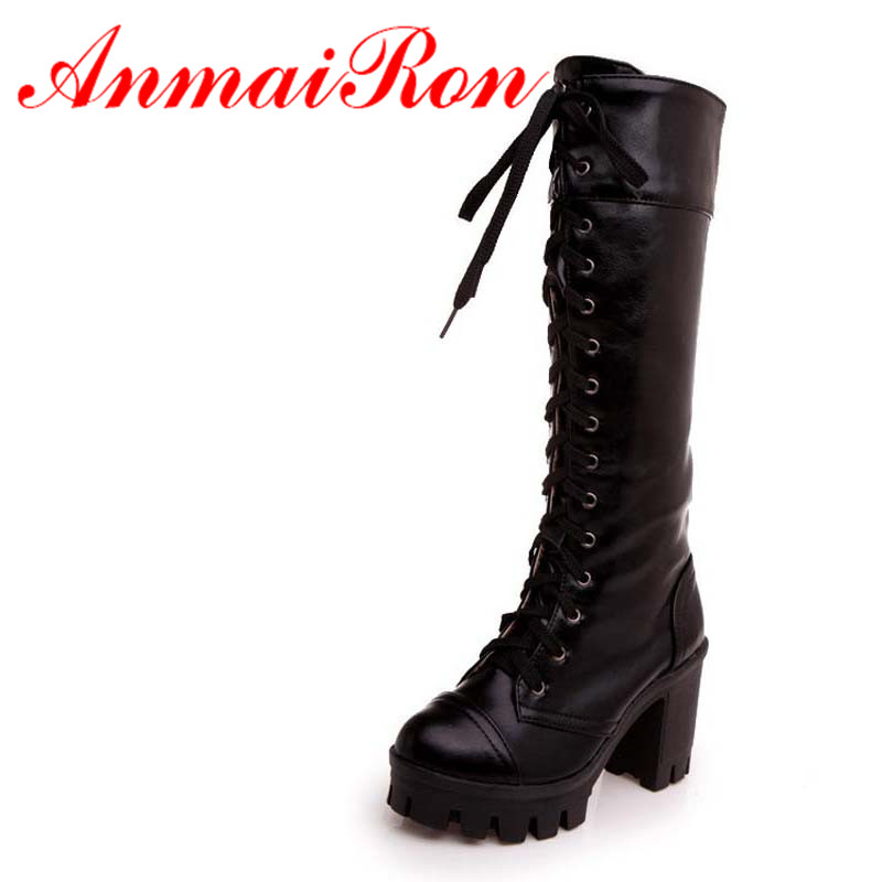 ANMAIRON Round Toe High Boots For Women New Thick crust Knee-High Boots Red  black Yellow Motorcycle boots winter platform Shoes<br><br>Aliexpress