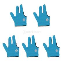 5 Pieces Elastic 3 Finger Right Hand Snooker Billiards Pool Cue Glove Blue(China)