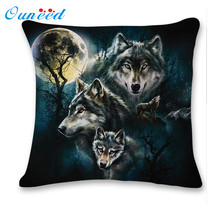 Dropshipping New 3D Cute Wolf Sofa Bed Home Decoration Festival Pillow Case Cushion Cover Funda de almohada 17Mar8