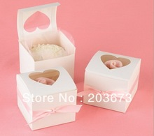 White Paper Mini Cupcake Cake Box With Window Wedding Party Favors And Gifts Packaging