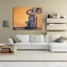 High Quality Free Shipping Handpainted Painting On Canvas Lovely Elephant Oil Painting Abstract Modern Canvas Wall Art no Framed