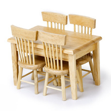 LeadingStar 5pcs Wooden Dining Table Chair Model Set 1:12 Dollhouse Miniature Furniture Great Children Gift Primary Wooden Color