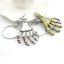 Classic Retro Skeleton Head Skull Hand Keychain Metal Key Ring Pendant Personality Accessory For Handbag Men
