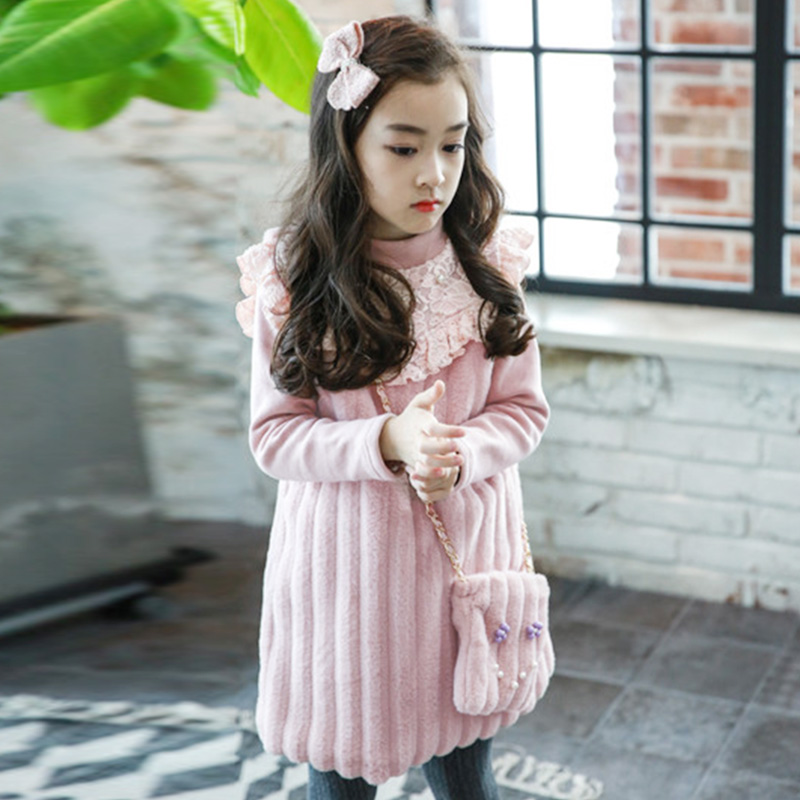 Autumn Winter Dress+ Bag 2pcs for Girls Princess Lace Dresses 2-8 Yrs Baby Girl Clothes Toddler Girl Clothing for Wedding Party<br>