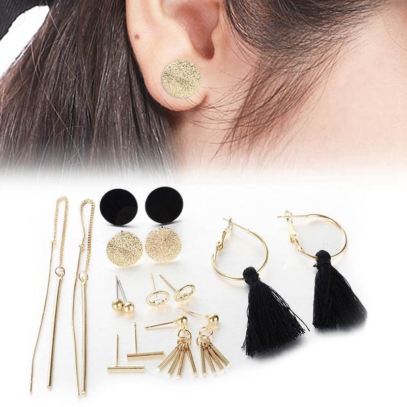 8pcs/Set Long Tassel Stud Earrings Set For Women Girl New Bohemia Round Earring Fabric Female Fashion Jewelry Girft