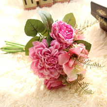 Artificial Hydrangea Rose Dahlia Flower Bouquet for Home Party Wedding Decoration 3 Color(China)