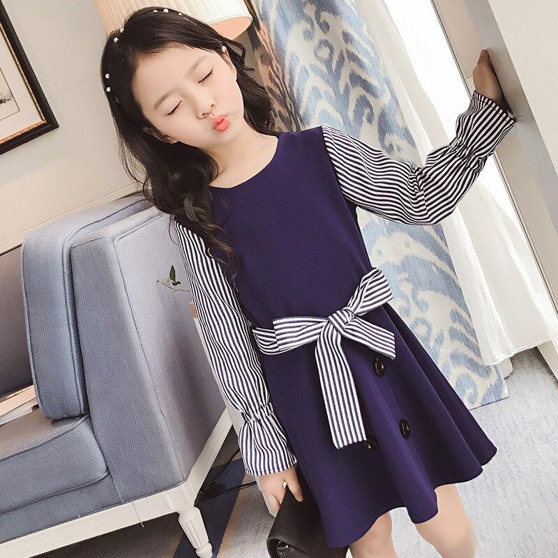 2017 Newest Kids dresses Spring and summer child models of child princess long sleeve children girls stripe dress 7-14 ages<br><br>Aliexpress