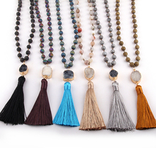 Free Shipping Fashion Rosary Chain Natural Druzy Bead Link Druzy Tassel Necklaces Bracelet set For Women Ethnic Necklace(China)